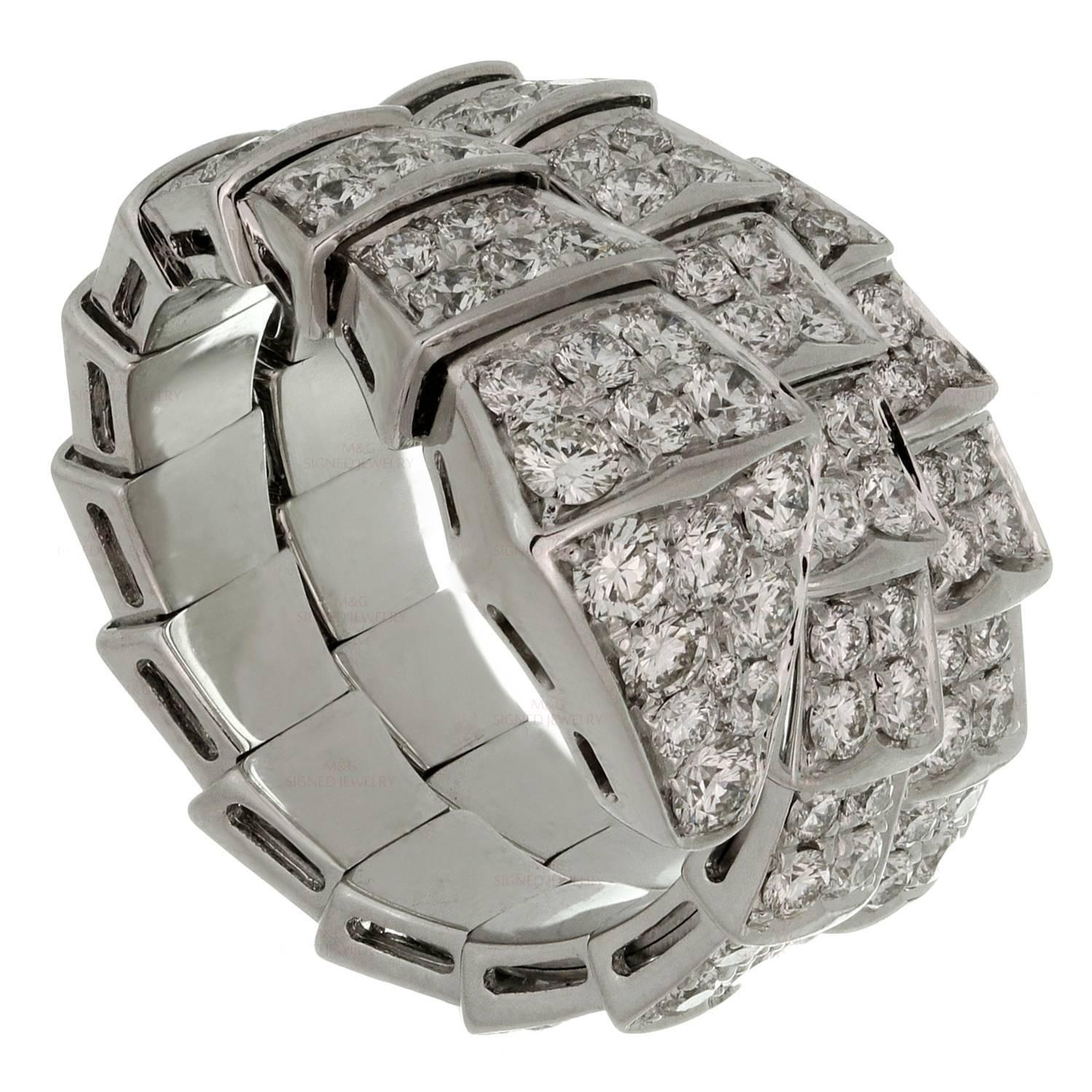 bulgari serpenti full pave diamond gold ring