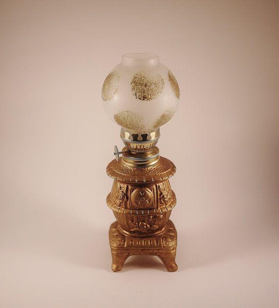 Vintage Ceramic Pot Belly Stove Kerosene Lamp Made In Japan