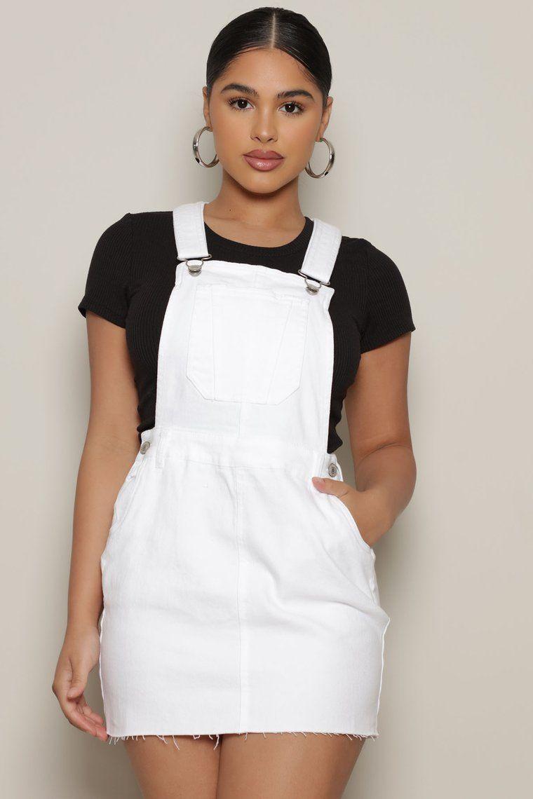 Keep It Cute Denim Skirtalls White in 2020 Fashion