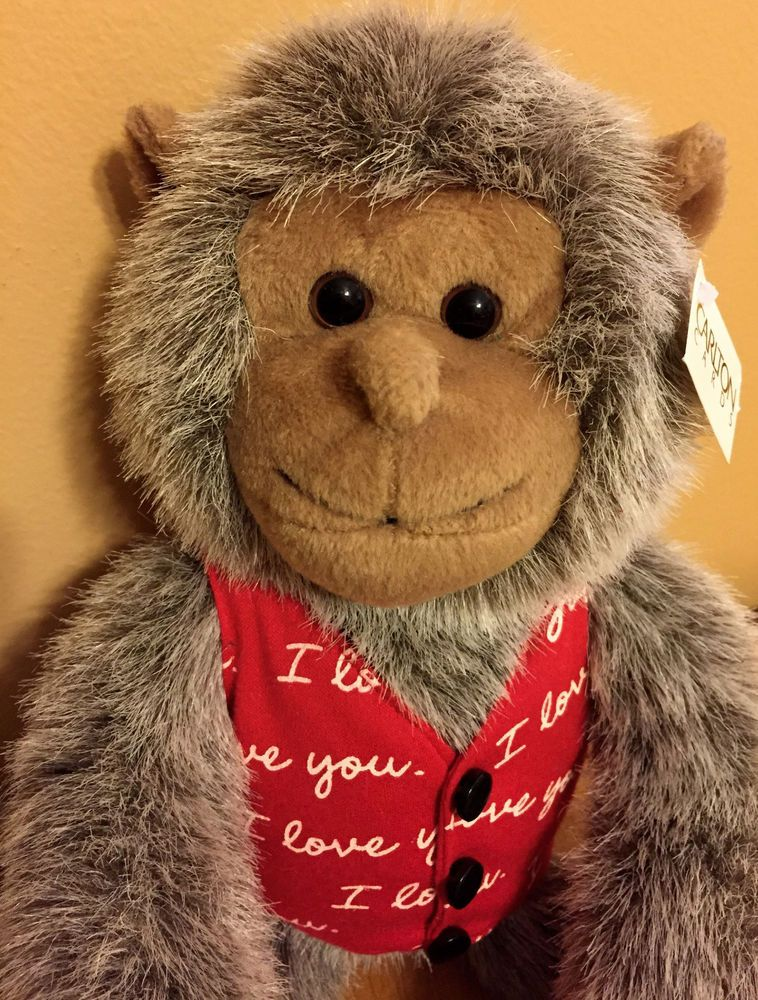 RARE Valentines Monkey I LOVE YOU Vest Long Arm Velcro Carlton Card Plush Toy  #CarltonCards