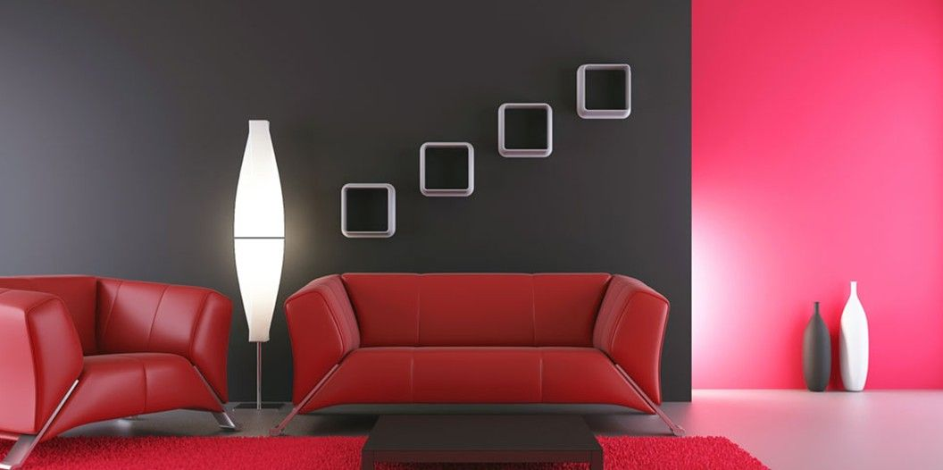 black white and red combination in interior design red