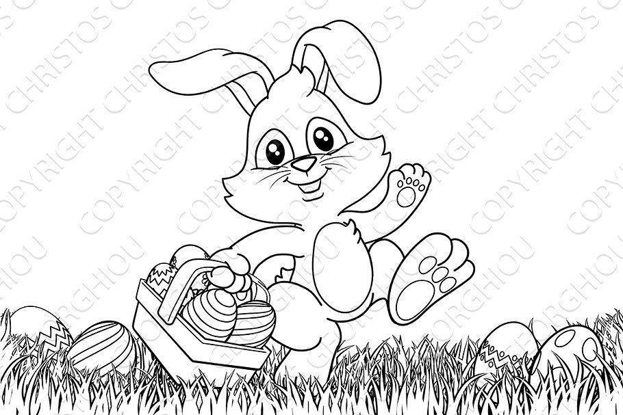 Easter Bunny Rabbit Eggs Egg Vector C In 2020 Easter