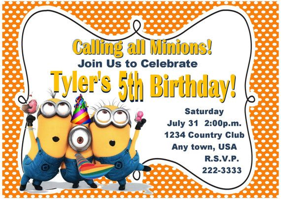 despicable me inspired invitation by pinkinkpartyboutique on etsy