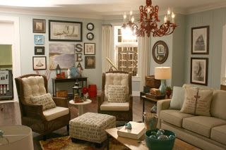 Beach Themed Living Room   Painted Copen Blue By Sherwin Williams