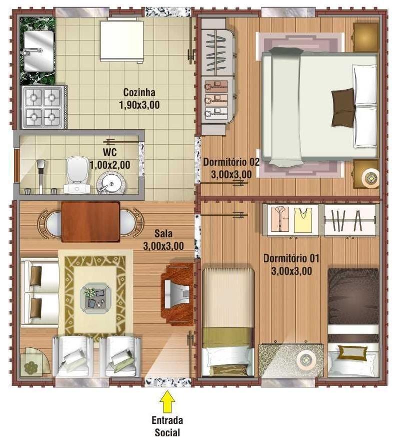 planos de casas pequenas en l