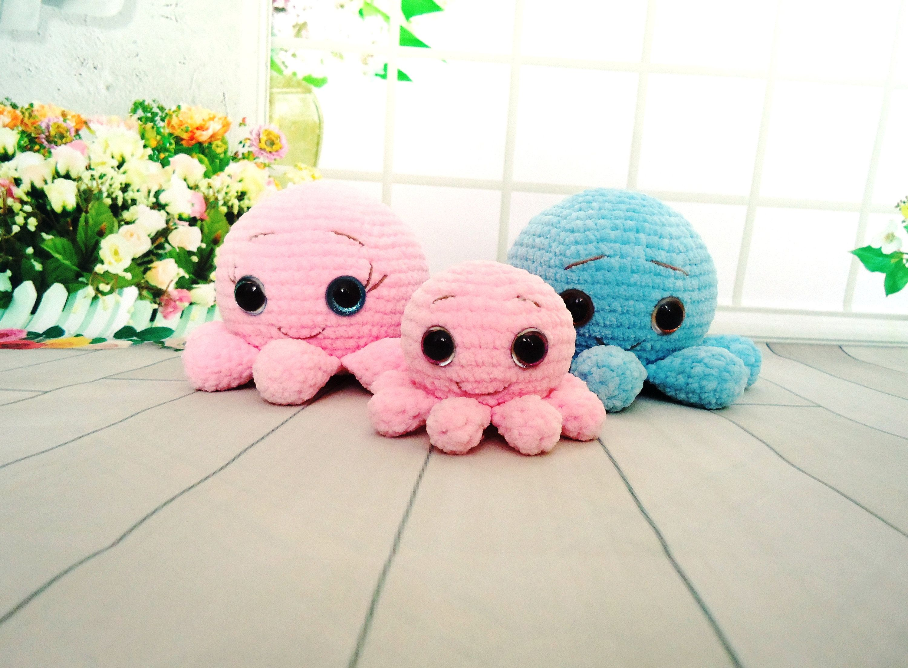 Crochet octopus family Amigurumi octopus Stuffed Octopus toy Plush Octopus