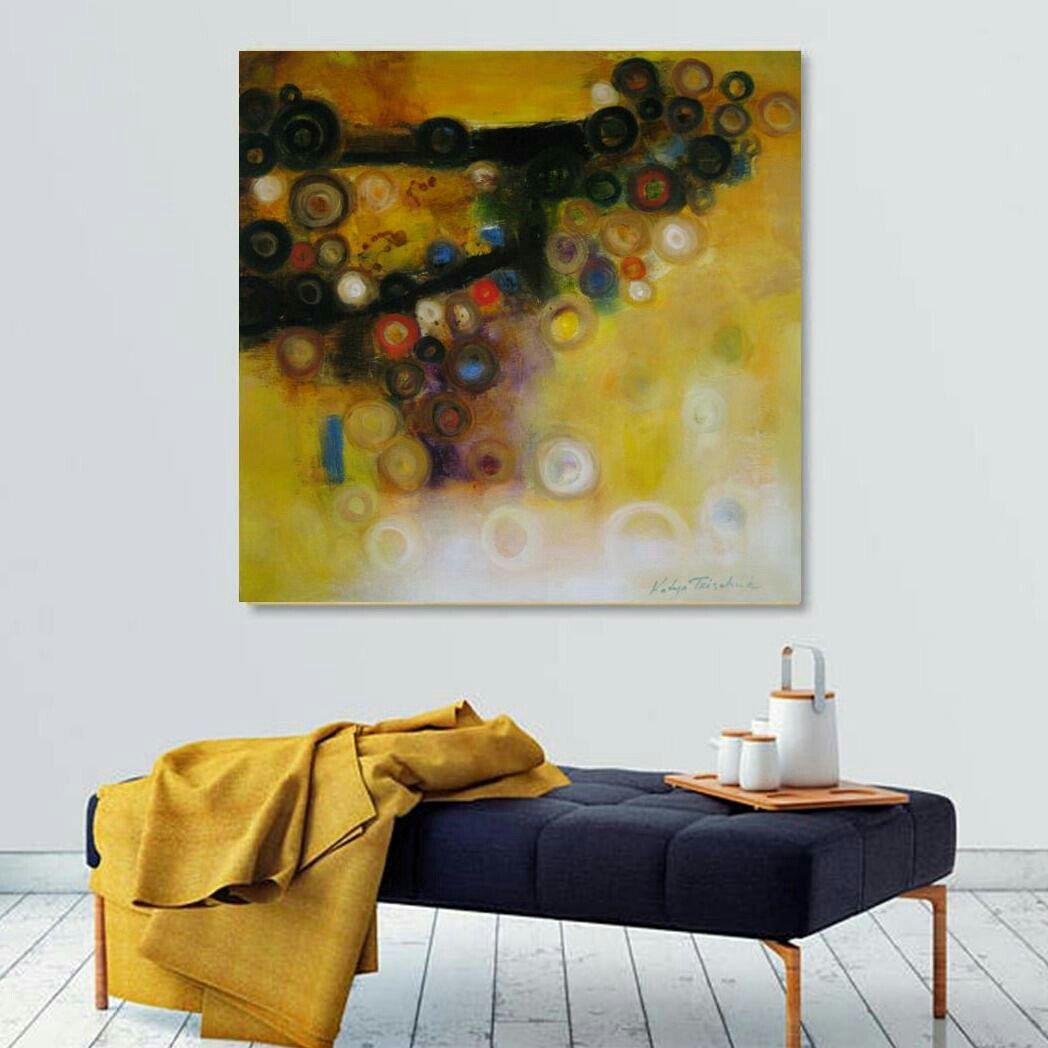 Wall decor yellow black art,print from my original 12x12\