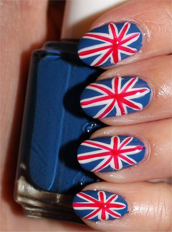 British Union Jack Nail Art. (Click through to see my step-by-step tutorial & more swatches.)