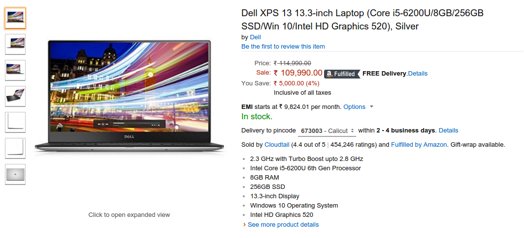 Buy Dell XPS 13 Online on Amazon India, Price and Specs