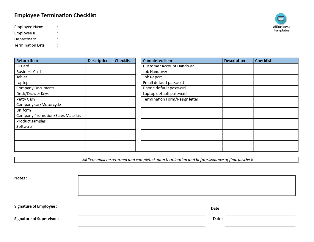 Employee termination checklist download this employee for Job handover checklist template