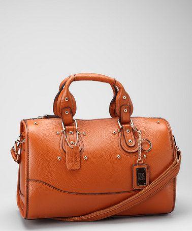 Jeanne Lottie Wheat Studded Leather Satchel