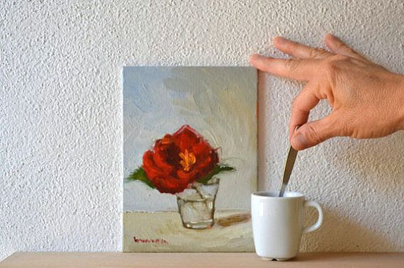 I like my Roses with a little coffee!  Red Flower Painting floral still life by BarraganPaintings on Etsy, €55.00