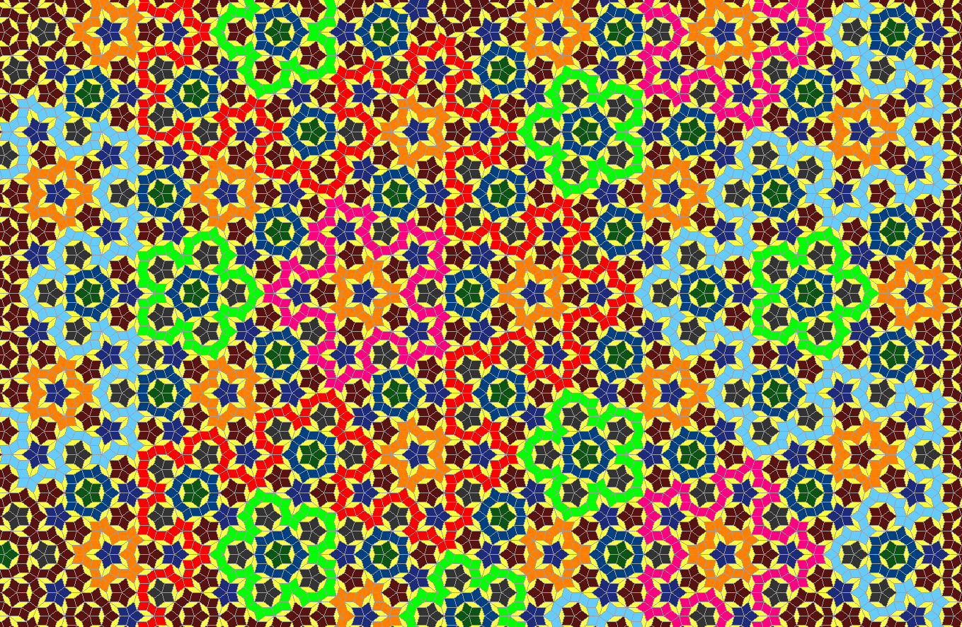 Penrose tiling example in color its an aperiodic pattern never penrose tiling example in color its an aperiodic pattern never repeats cool dailygadgetfo Images