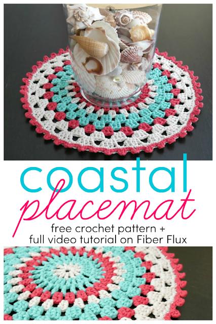 Free Crochet Pattern Coastal Placemat Placemats Patterns Crochet Placemat Patterns Free Crochet