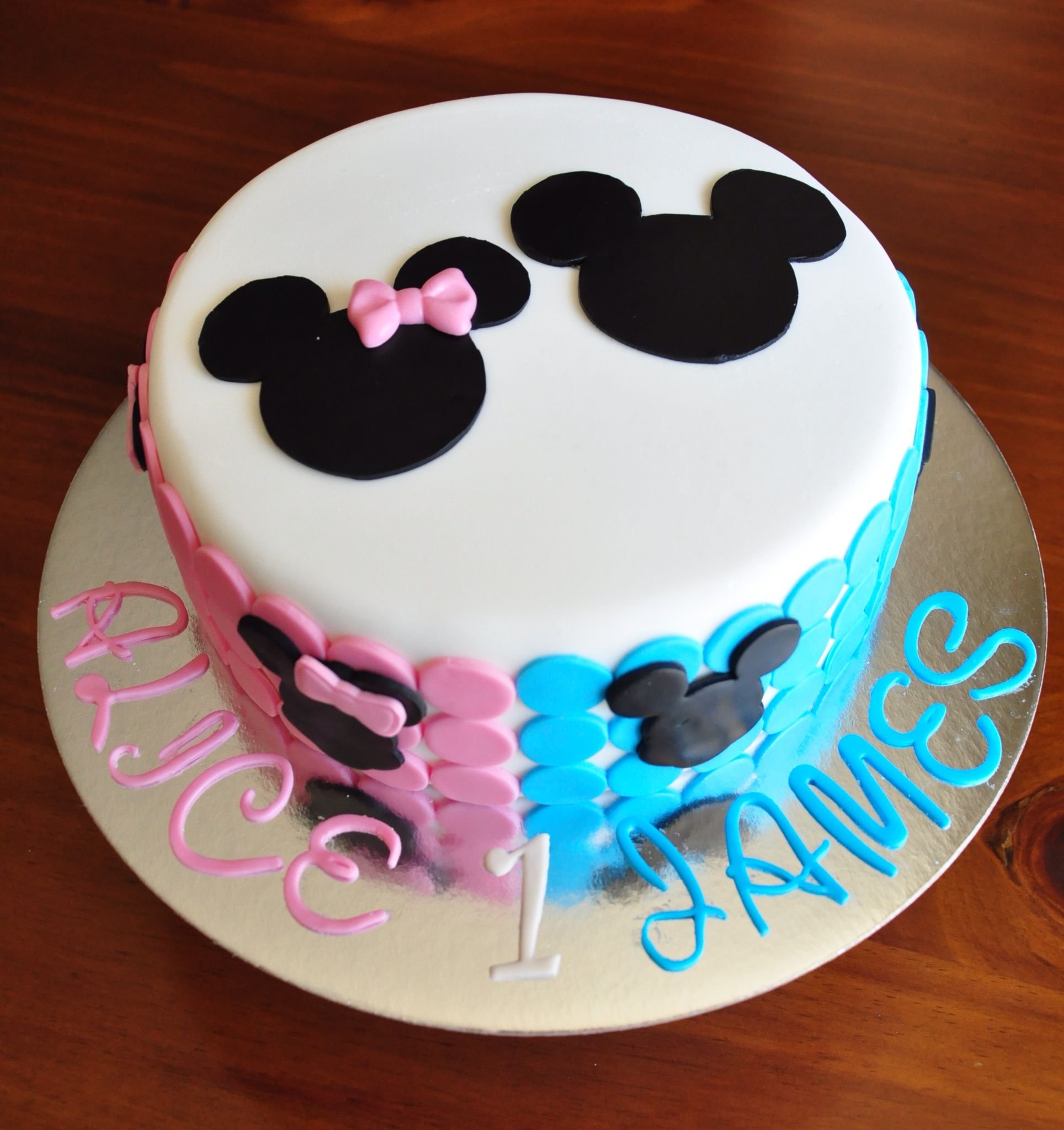 Minnie Mickey Mouse Cake For Twins Birthday Cake