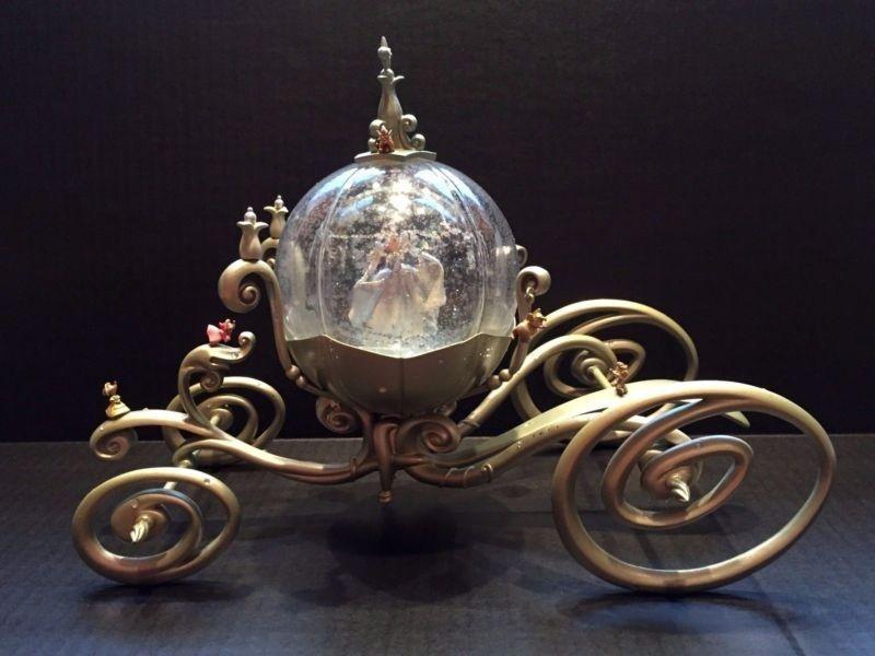 Disney World Cinderella Pumpkin Coach Snow Globe Metal Carriage