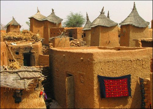 Africa |  A Dogon village.    The Dogon people are an ethnic group that live in the central region of Mali, as well as parts of Niger.