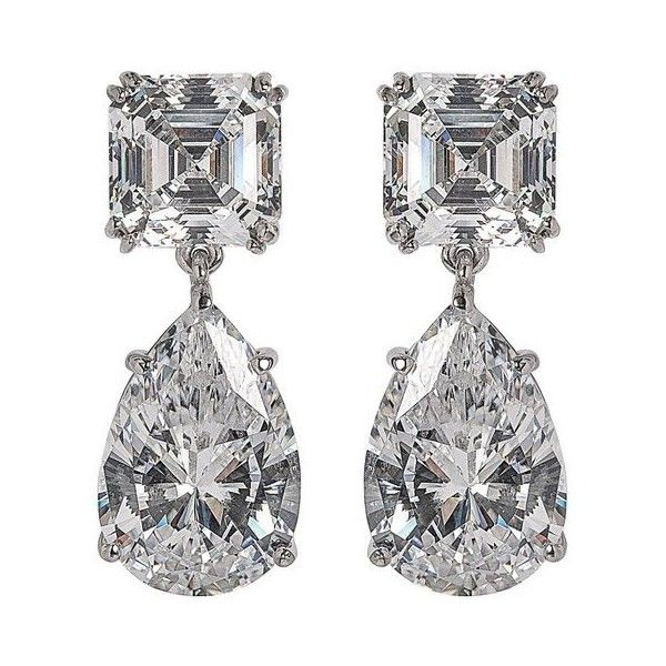 Preowned Magnificent Costume Jewelry Diamond Drop Earrings 660 Liked On Polyvore Featuring