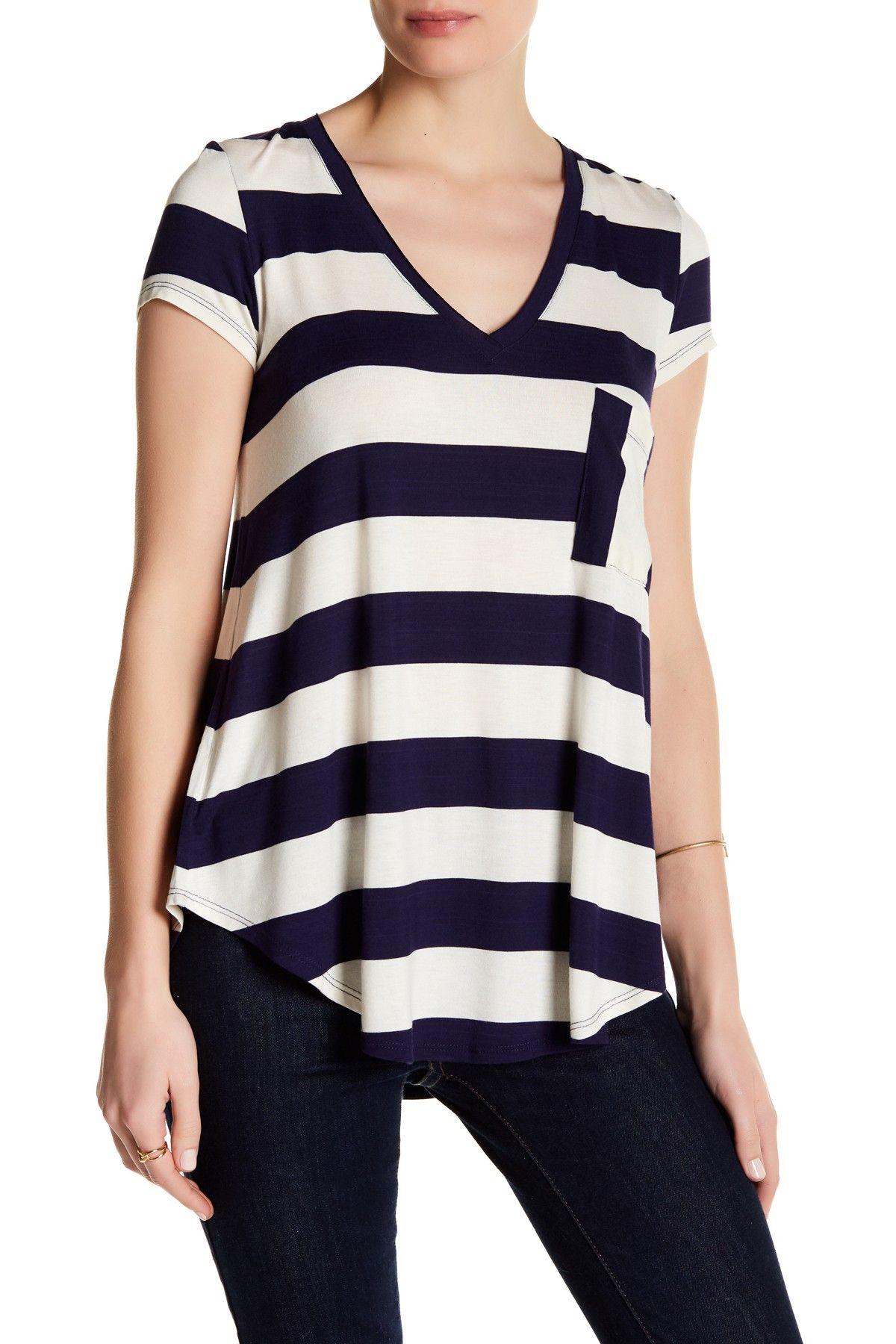 d857cbb45f67f Short Sleeve Striped Tee V Neck Tee
