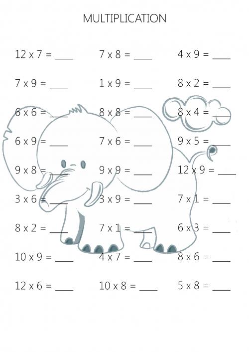 Easy Multiplication Practice Sheet 5 | Multiplikation, Rechnen und ...