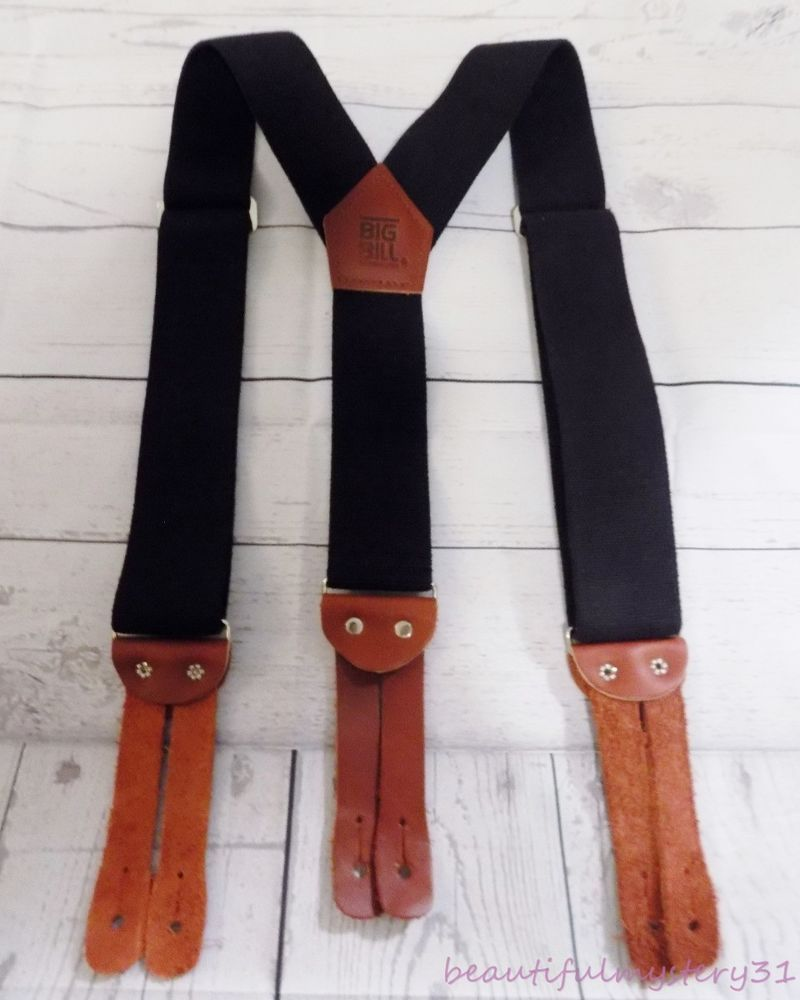 Heavy Mens Black Button Suspenders Tuxedo Braces Y Back Real Leather Elastic New