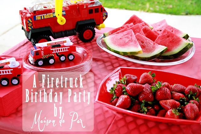 A Smokin' Hot Fire Truck Birthday Party with ideas for invitations, food, party favors, and decor at www.maisondepax.com