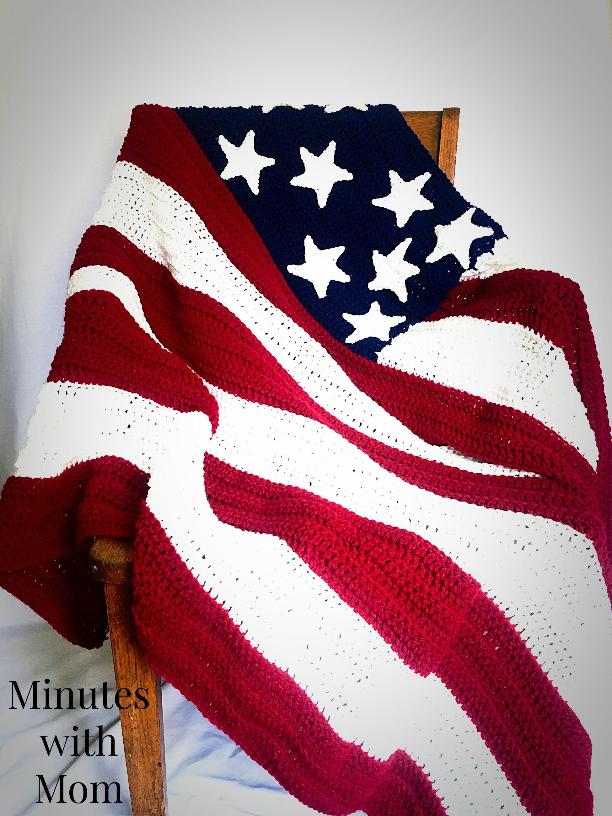 America Flag Crochet Blanket with FREE Pattern | Colchas y Tejido