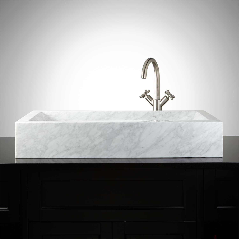 Rectangular Polished Carrara Marble Vessel Sink With Sloped Basin Vessel Sinks Bathroom Sinks Bathroom Rectangular Vessel Sink Marble Vessel Sink Sink