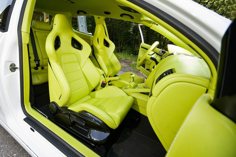 Custom lime green and black interior auto addiction for Bright green interiors