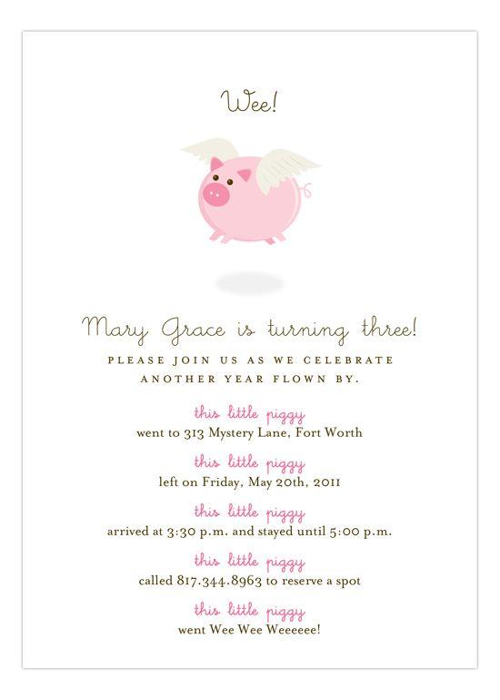 When Pink Pigs Fly Girl birthday, Birthdays and Birthday party ideas - fresh birthday invitation baby girl