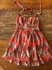 Guess Halter Sundress Womens Juniors 12 Orange Geometric Pin Up Summer Dress #Dress #Fashion #Woman #shortsundress