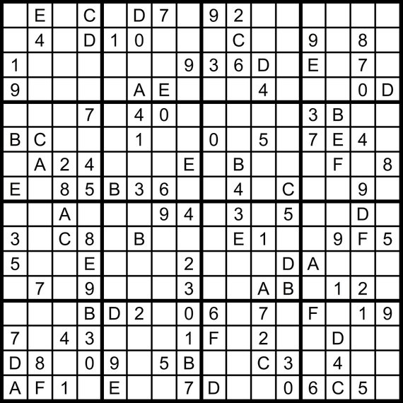 photo about 16 Square Sudoku Printable identify Hexadoku sudoku 16x16 16x16 sudoku sudoku print mega