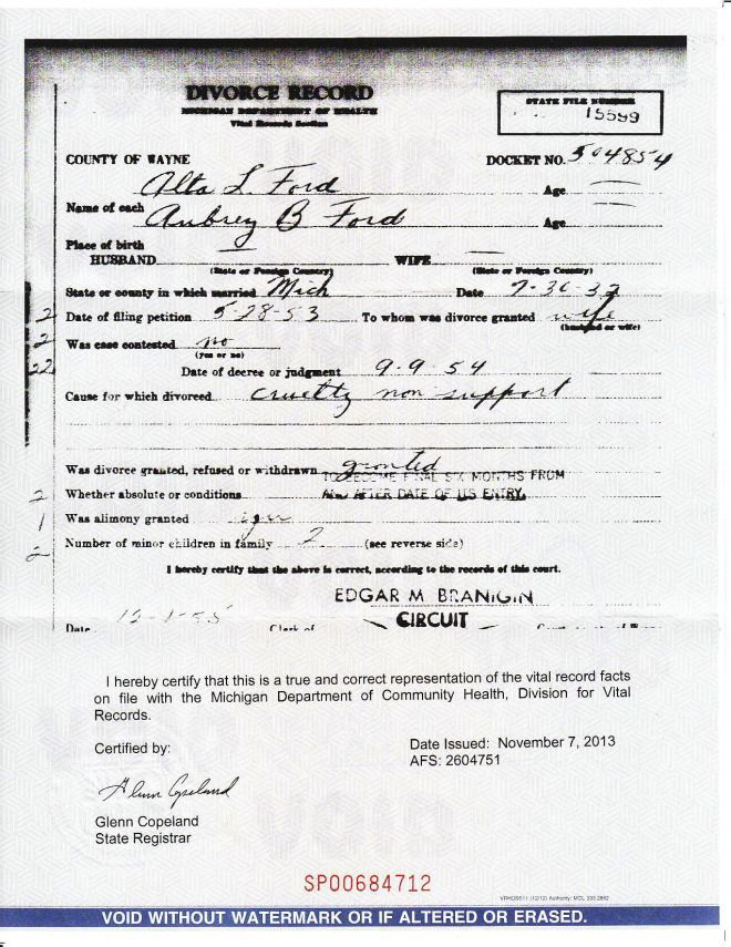 My Grandmother\'s divorce certificate (1954) | Divorce Records ...