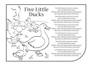 Nursery rhymes are a great way to introduce your child to for Five little ducks coloring page
