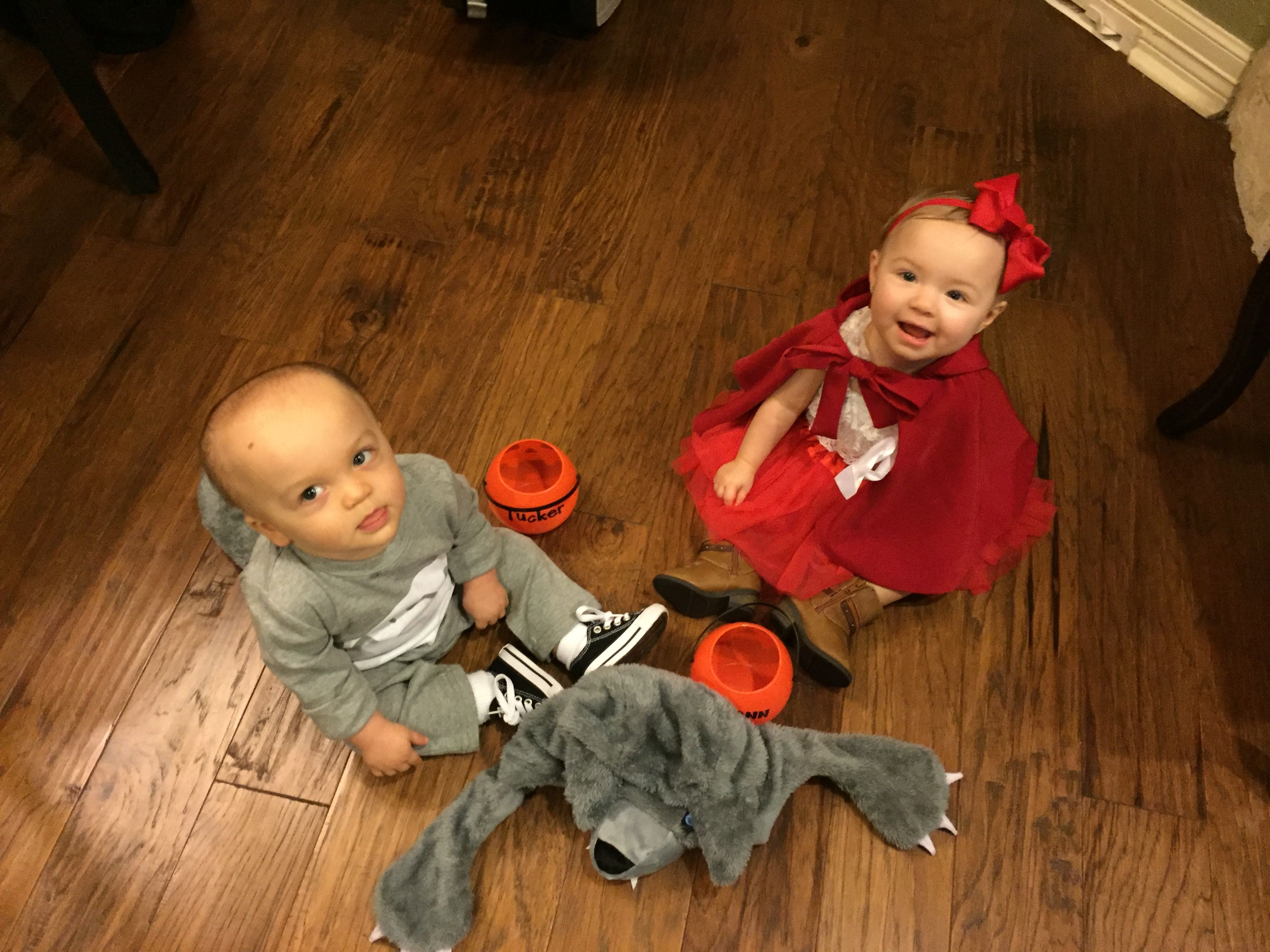 Twin Halloween Costumes Little Red Riding Hood and The Big Bad Wolf