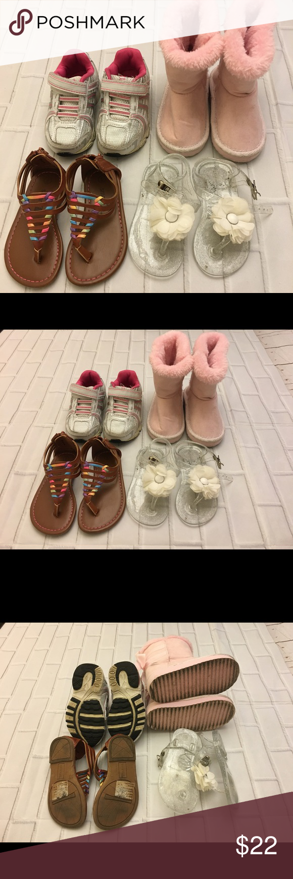 Lot Of 4 Pairs Of Girl S Size 6 Shoes Used Used Minimal Wear Of 4 Pairs Of Shoes For Toddler Girl S Size 6 One Pair Of Toddler Shoes Pink Boots Size Girls