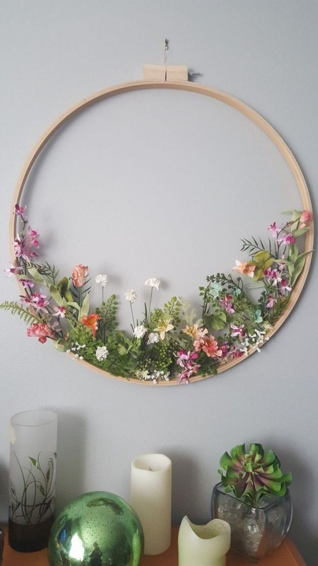 Photo of Floral wreath with embroidery hoop   DIY: Flowers and Plants Pinterest   Wreaths, Em …
