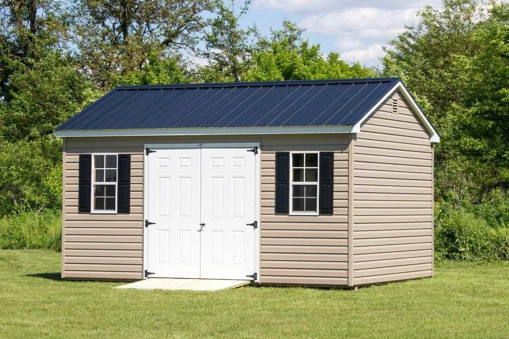 12x16 Vinyl Cottage Byler Barns Vinyl Sheds Built In Storage Small Yard