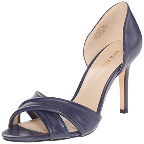 Nine West Women's Fortunata Leather Heeled Sandal, Navy, ... http:/