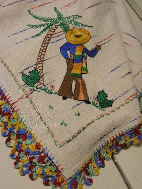 Vintage Southwestern Tablecloth And Napkins Southwestern