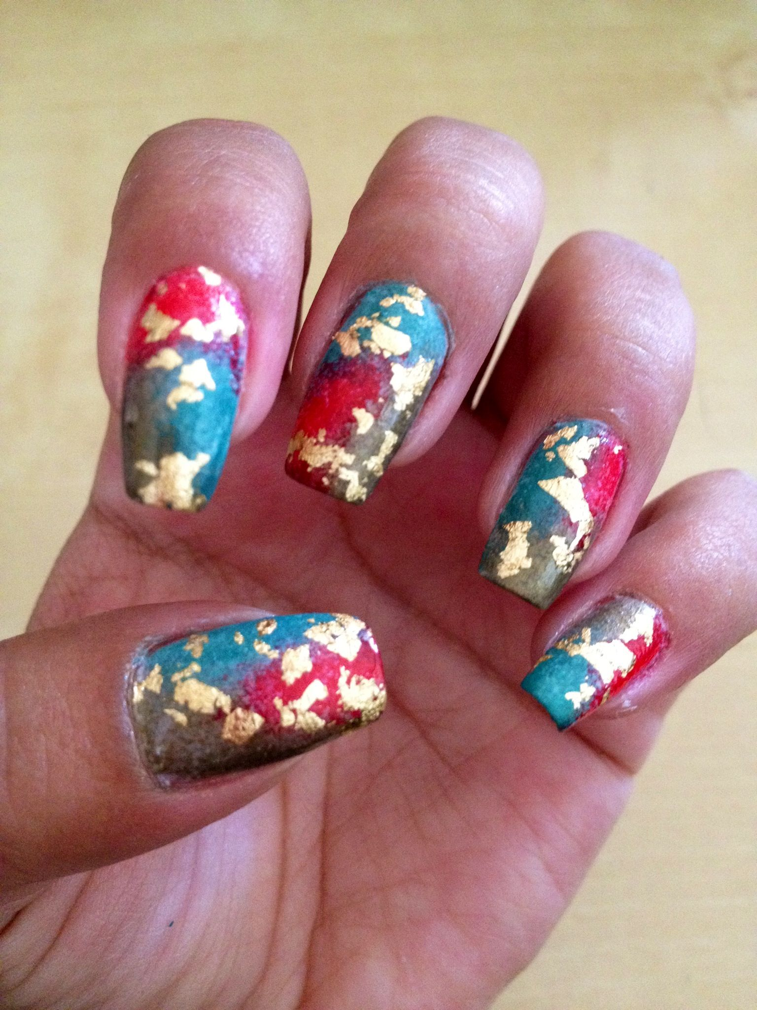 My Nails of the Day!!! #nailart #nails #manicure #newmanicure #NOTD #goldleaf #goldleafmanicure
