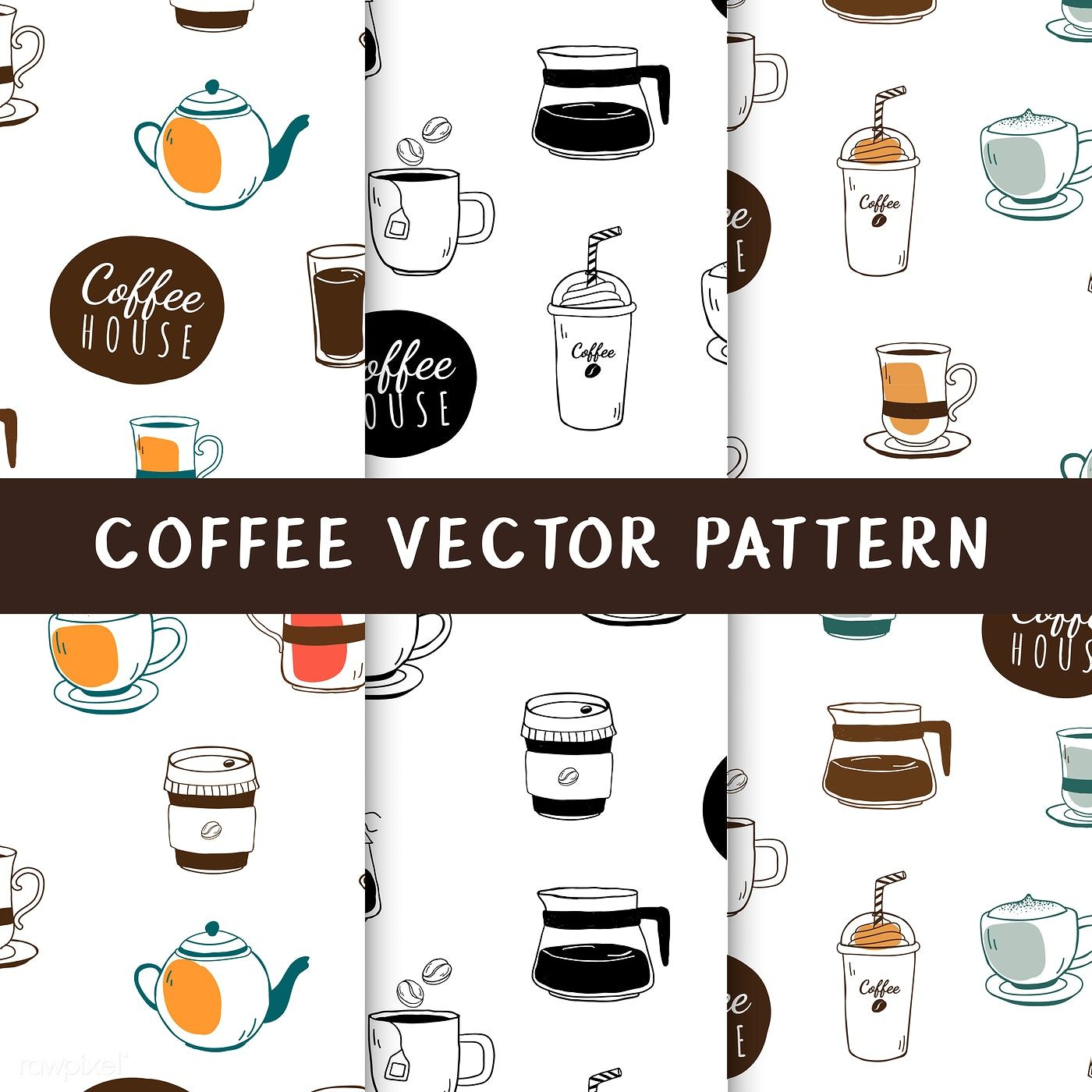 Coffee house and cafe seamless background vector free