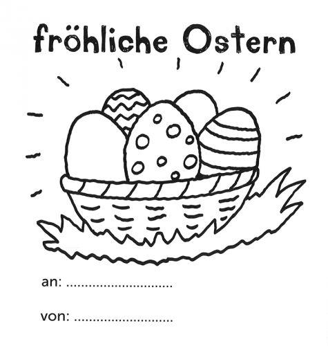 Ostern Frohliche Ostern Mit Ostereierkorb Zum Ausmalen Ostergrusse Frohliche Ostern Ausmalbilder Ostern