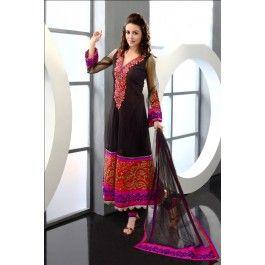 Brick Red & Black Net Stylish Ready Made Salwar Kameez