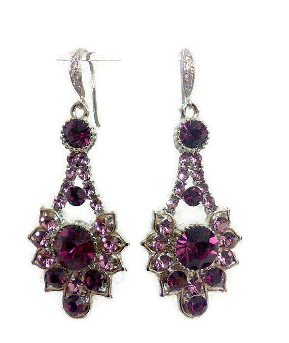 Purple Amethyst Earrings February Birthstone Art Deco Jewelry Geometric Bridesmaids