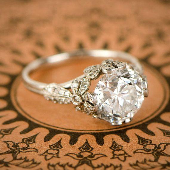 4 01ct Antique Old European Diamond Engagement Ring Etsy Vintage Engagement Rings Best Engagement Rings Platinum Engagement