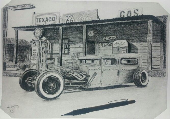 Old Gas Station Drawing Hotrod old gas ...