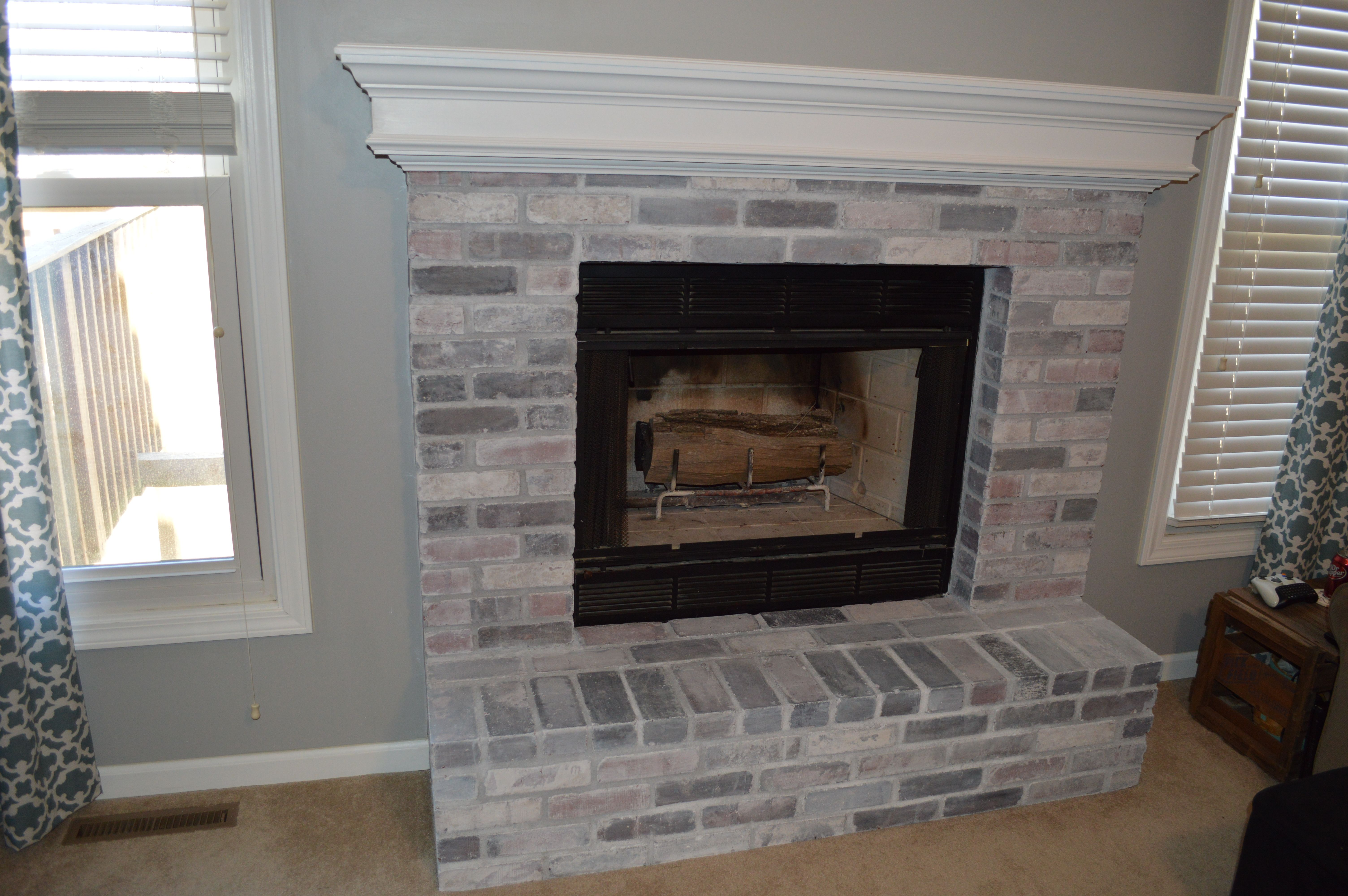 how to whitewash brick fireplace Finished upstairs fireplace and