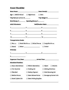 Outing Or Retreat Checklist For Teachers Youth Ministers Or