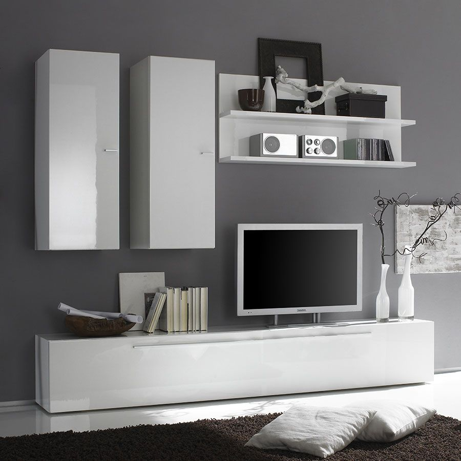 Ensemble Meuble Tv Blanc Laque Design Mobilier De Salon Ensemble Meuble Tv Meuble Tv